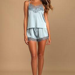 Keep Dreaming Slate Blue Satin Two-Piece Pajama Set | Lulus (US)