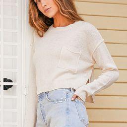 Feeling Positive Ivory Knit Cropped Pocket Sweater | Lulus (US)
