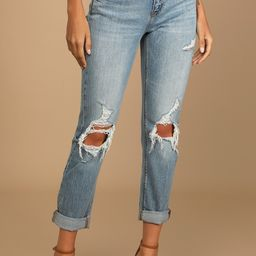 Frankie Light Wash Distressed Mid-Rise Girlfriend Jeans | Lulus (US)