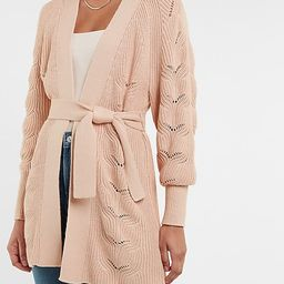 Pointelle Belted Cardigan   Express