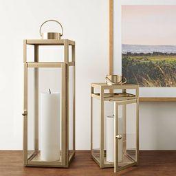 "24"" x 8"" Decorative Metal Lantern Candle Holder Matte Gold - Threshold™   Target"