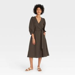 Women's 3/4 Sleeve Wrap Dress - A New Day™   Target