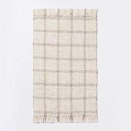 """2'1""""x3'2"""" Woven Indoor/Outdoor Rug with Fringe Linen - Threshold™ designed with Studio McGee   Target"""