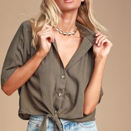 Tehama Olive Green Button-Up Tie-Front Top | Lulus (US)