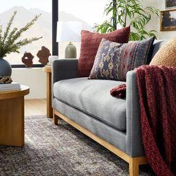 Oversized Woven Pattern Lumbar Throw Pillow Blue/Burgundy - Threshold™ designed with Studio McG... | Target