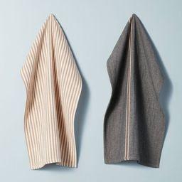 2pk Striped Kitchen Towel Set Railroad Gray/Pumpkin Brown - Hearth & Hand™ with Magnolia | Target