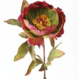 """Fake Peony Fall Flower in Purple Green - 22"""" 