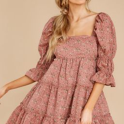 Genuine Smiles Dusty Rose Floral Print Dress   Red Dress