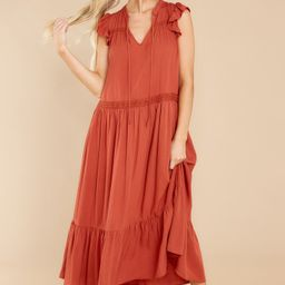 No Greater Feeling Rust Midi Dress   Red Dress