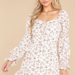 Blooming Days White Floral Print Dress   Red Dress