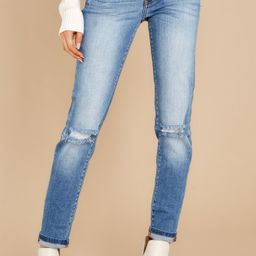 Look This Way Light Wash Distressed Skinny Jeans   Red Dress