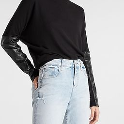 Mock Neck Faux Leather Sleeve Top | Express