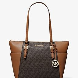 Charlotte Large Logo and Leather Top-Zip Tote Bag   Michael Kors (US & CA)