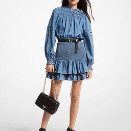 Cotton Chambray Smocked Dress   Michael Kors (US & CA)
