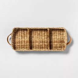 3 Compartment Woven Tank Tray with Leather Handles - Hearth & Hand™ with Magnolia   Target