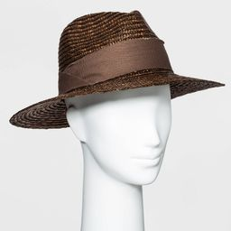 Women's Straw Panama Hat - A New Day Brown One Size   Target