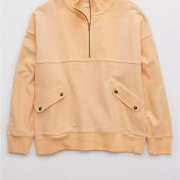 Aerie Luxe Motto Quarter Zip Sweatshirt | American Eagle Outfitters (US & CA)