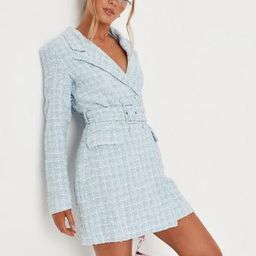 Blue Boucle Belted Blazer Dress | Missguided (US & CA)