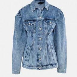 Blue Cinched Waist Puff Sleeve Denim Jacket | Missguided (US & CA)