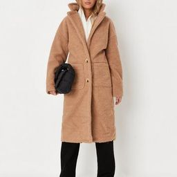 Petite Brown Borg Teddy Patch Pocket Coat | Missguided (US & CA)