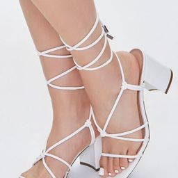 Faux Leather Lace-Up Block Heels   Forever 21 (US)