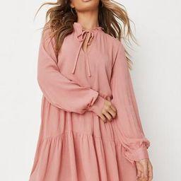 Rose Crinkle Tie Front Smock Dress | Missguided (US & CA)