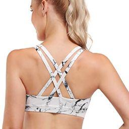 OMANTIC Women's Sports Bra - Criss-Cross Back Wirefree Padded Strappy Medium Support Athletic Gym Yo | Amazon (US)