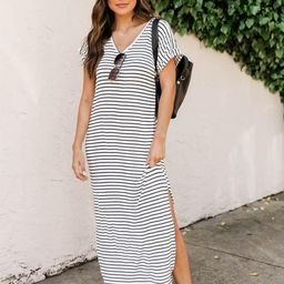 Set Yourself Free White/Black Striped Maxi T-Shirt Dress | The Pink Lily Boutique
