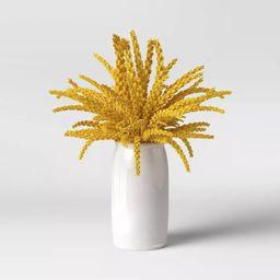 "16.5"" x 10"" Artificial Goldenrod Plant Arrangement in Ceramic Pot Yellow - Threshold™   Target"
