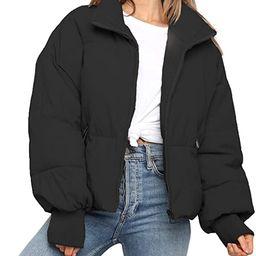 ZROZYL Women's Winter Puffer Down Jacket Long Sleeve Zipper Pockets Baggy Short Coats   Amazon (US)