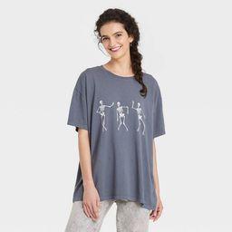 Women's Halloween Dancing Skeleton Short Sleeve Oversized Graphic T-Shirt - Gray   Target