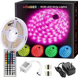 MINGER LED Strip Lights 16.4ft, RGB Color Changing LED Lights for Home, Kitchen, Room, Bedroom, D... | Amazon (US)