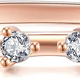 BLOSSOM & HUE Eternity Ring [.925 Sterling Silver Dipped in 18K Rose Gold] 4-Stone Premium CZ [Si... | Amazon (US)