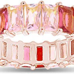 AFFY 18K Rose Gold Plated Emerald-Cut Multi Color AAA Created-Gemstone Eternity Ring Rainbow | Amazon (US)