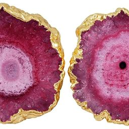SUNYIK Women's Natural Agate Quartz Geode Druzy Stud Earrings for Women | Amazon (US)