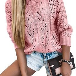 Women's Hollow Out Sweaters Casual Long Sleeve Crewneck Knit Sweaters Oversized Pullover Knit Top... | Amazon (US)