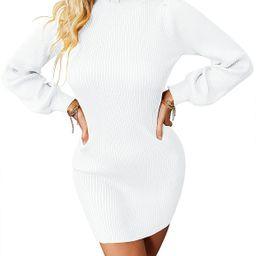 ZHENWEI Women's Turtleneck Sweater Dress Long Puff Sleeve Ribbed Knit Bodycon Mini Sweater Dress ... | Amazon (US)