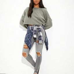 AE Fleece Cropped Crew Neck Sweatshirt | American Eagle Outfitters (US & CA)