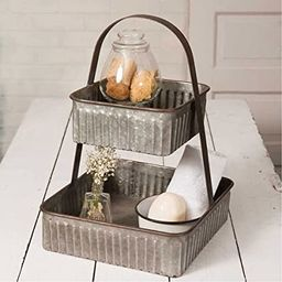 Colonial Tin Works Rustic Industrial Farmhouse Chic Two Tiered Corrugated Square Tray,Grey (Galva...   Amazon (US)