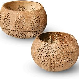 Coconut Shell Candle Holders Set of 2, Wooden Farmhouse Candle Holders for Small Pillar Candles, ...   Amazon (US)