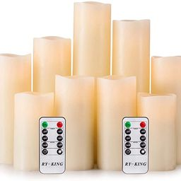 RY King Battery Operated Flameless Candle Set of 9 Real Wax Pillar Decorative Led Fake Candles wi...   Amazon (US)