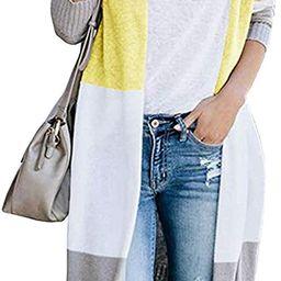 KIRUNDO Women's Open Front Long Cardigan Stripe Color Block Long Sleeves Lightweight Knit Fall ...   Amazon (US)