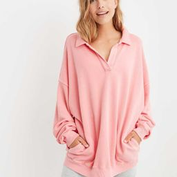 Aerie Happy Henley Everyday Polo Sweatshirt   American Eagle Outfitters (US & CA)