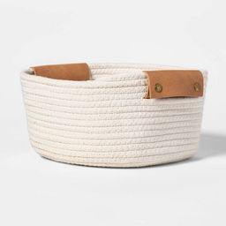 """11"""" Decorative Coiled Rope Square Base Tapered Basket with Leather Handles Small White - Thre...   Target"""