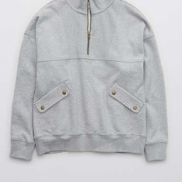Aerie Luxe Motto Quarter Zip Sweatshirt   American Eagle Outfitters (US & CA)