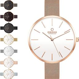 Obaku Womens Classic and Modern Dress Watch with Stainless Steel Mesh Band in Black, Blue, Silver... | Amazon (US)