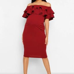 Maternity Ruffle Off The Shoulder Midi Dress   Boohoo.com (US & CA)