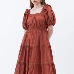 Ruffled Neck Crochet Detail Midi Dress in Rust Red | Chicwish