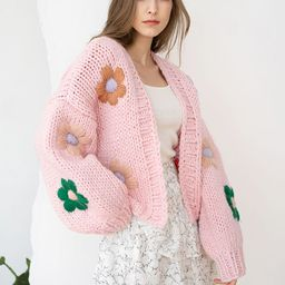 Stitch Flowers Hand-Knit Chunky Cardigan in Pink | Chicwish
