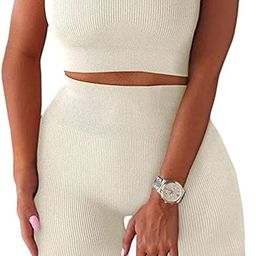 TWFRHC Women's Workout Sets Ribbed Tank 2 Piece Seamless High Waist Gym Outfit Yoga Shorts Sets | Amazon (US)